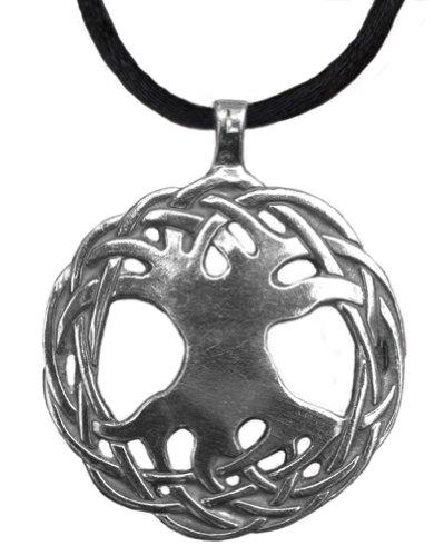 "Celtic Tree Of Life Sterling Silver Pendant 1 1/4"" - Hand Cast - Original Design By Jen Delyth"