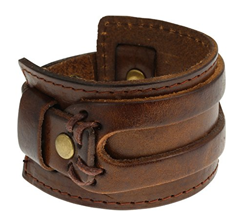 authentic-regetta-jewelry-wide-leather-casual-mens-brown-cuff-bangle-bracelet