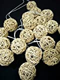 Hight Quality Nature Wood Tone Handmade Rattan Balls Fairy Srting Party Home Decor Wedding Lights(20 /Set)