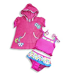 Isababies - Infant Girls Two Piece Bathing Suit And Coverup, Raspberry