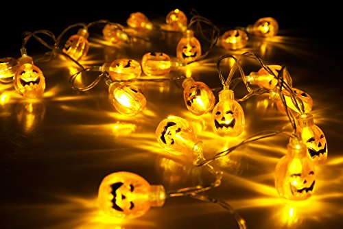 Velice Battery Operated LED Fairy String Lights 3D Pumpkin 20 LED Lights...
