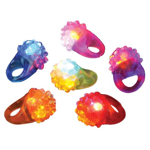 Dazzling Toys Flashing LED Light Up Toys, Bumpy Rings, 12 Pack