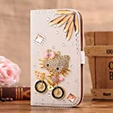 C-GUESS Nokia LUMIA 720 Jewelry Bling Diamond Gem Leather Smart Case Cover With Magnetic Flip Horizontals & Card Holder // Bike and Kitty Cat Flower
