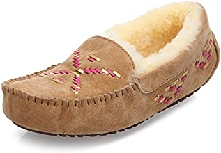 Dycarfell Women39s Suede and Sheepskin Wool Outdoor Slipper