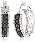 Sterling Silver Black Diamond Round Shaped Accent Hoop Earrings (0.05 cttw)
