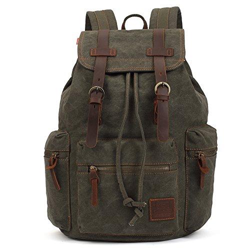 KAUKKO Sac en cuir multifonction Vintage Canvas Rucksack Voyage randonnée à dos pour ordinateur portable sac d'école de sac à dos