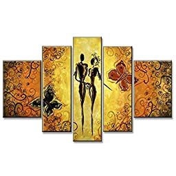 Neron Art - Romance Figure Oil Paintings Set of 5 Panels on Gallery Wrapped Canvas overall 56X32 inch