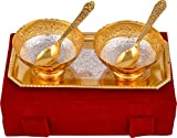 MA DESIGN HUT Decorative Brass Bowl Tray and Spoon set in golden and silver plated in rectangular shap of tray with gift box Decorative Dining Set Dinner Set Serving Bowl set for use Tableware, Anniversary, Wedding, Valentine, Diwali Gift Item Home Decore in 5 pcs set.