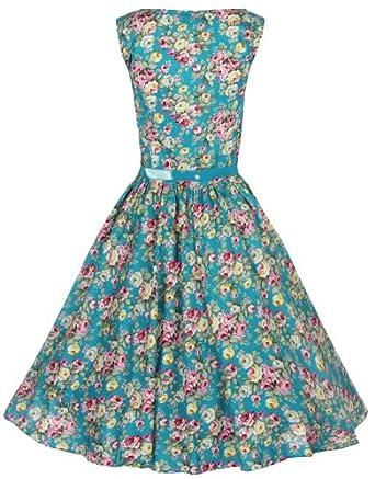 Lindy Bop Classy Vintage Audrey Hepburn Style 1950's Rockabilly Swing Evening Dress (XS, Turquoise)