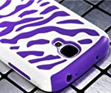 myLife (TM) White and Purple Zebra Stripe Design (2 Piece Hybrid Bumper) Hard and Soft Case for the Samsung Galaxy S4