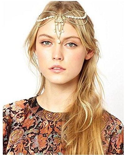 「T&F」 ヨーロッパ女神風髪飾り ヘアバンド ヘアアクセサリー  サークレット ( ミスティック ゴールド : 金 )