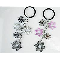 White Pink Snowflakes Christmas Couple Keychain Car Keychain Key Ring Key Chain Key Ring Snowflake Christmas Piece