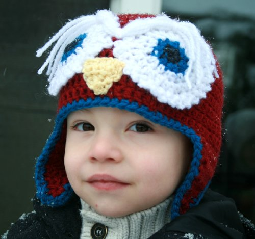 Crochet pattern owl earflap hat includes 4 sizes from newborn to adult (Crochet animal hats)