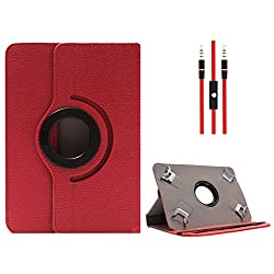 DMG Protective Flip Book Cover Stand View Case for Dell Venue 7 3000 Series Tablet (Red) + 3.5mm Flat AUX Cable with Mic