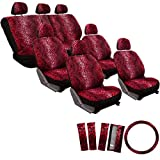 OxGord Leopard Seat Cover Set for AM General Hummer, Airbag Compatible, Split Bench, Airbag Compatible, Split Bench, Red