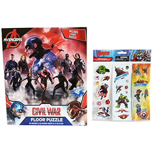 """3-Foot Licensed Marvel 46 Piece Avengers - Captain America Floor Puzzle Activity 24"""" X 36"""" and Personalized Avengers Stickers (2 Item Bundle)"""