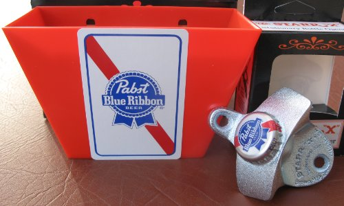 Pabst Blue Ribbon Beer Bottle Opener / Card & Bottle Cap Catcher Nib Bar Set