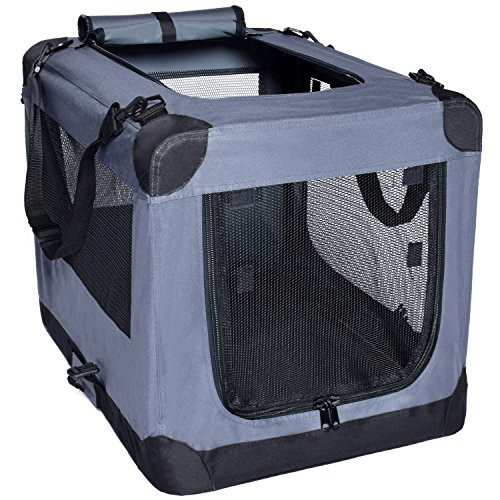Dog Soft Crate 26 Inch Kennel for Pet Indoor Home & Outdoor Use – Soft Sided 3 Door Folding Travel Carrier with Straps – Arf Pets