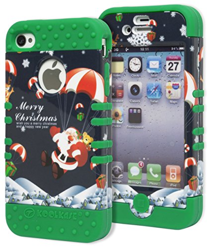 Iphone 4 Case, Bastex Heavy Duty Hybrid Protective Case - Green Soft Silicone Cover With Christmas Happy Santa Parachute Design Hard Shell For Apple Iphone 4, 4S, 4Gs