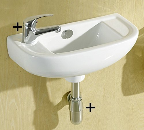 Layla Small Compact Square Rectangle Cloakroom Basin Bathroom Sink Wall Hung 450 X 210 Left Hand + Mini Mixer Tap, Slotted Click Clack Waste & Chrome Plated Brass Bottle Trap, Extension Tube
