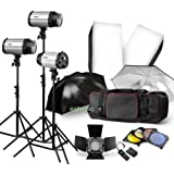Strobe Studio Flash Light Kit 900W - Photographic Lighting - Strobes, Barn Doors, Light Stands, Triggers, Umbrellas, Soft Box