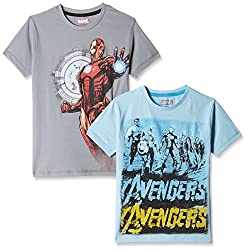 Kidsville Boys' T-Shirt (MC1KB05_Multi_7 - 8 years) Combo Tee pack of 2