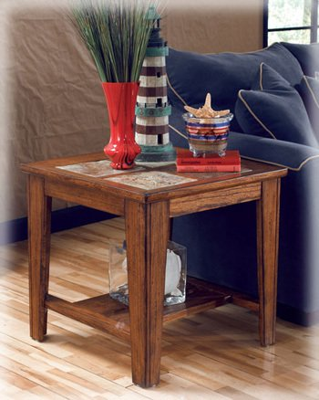 Toscana Square End Table with Natural Slate Tiles