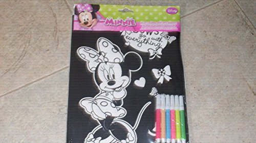 Disney Minnie Mouse Velvet Coloring Sheet With Markers