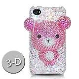 iPhone4/iPhone4S スワロフスキー(Swarovski)/3D ベアーケース/カバー ピンク(Bear Pink)ハイクオリティー
