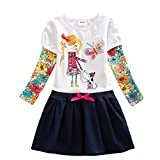 VIKITA 2017 New Kid Girl Embroidery Cotton Dress Long Sleeve H5926WHITE 4-5 Years