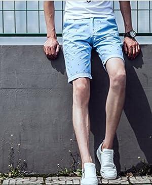 ff5-0440 MRPKメンズ夏服ファッション・バード柄ハーフパンツ3302 (28ヤード, アクアブルー)