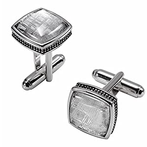 Starborn Creations Sterling Silver Square Muonionalusta Meteorite Cuff Links