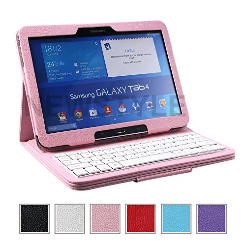 "Newstyle Removable Wireless Bluetooth Keyboard Abs Plastic Laptop Stylish Keys And Protective Case For Samsung Galaxy Tab 4 10.1"" 10.1 Inch Tablet Sm-T530 Sm-T531 Sm-T535 (Pink)"
