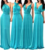 VIVICASTLE Women's Multi Way Wrap Convertible Infinity Long Maxi Dress (Small, Jade)