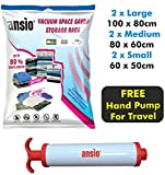 Vacuum Compressed Space Saver Storage Bags Set of 6 - 2 Large (100x80cm), 2 Medium (80x60cm) & 2 Small (60 x 50cm). Extra Strong Double-Zip Seal and Triple Seal Turbo Valve for Ultra Compression | Ideal for Clothes, Duvets, Bedding, Pillows, Curtains and Travelling. FREE Vacuum Pump Included
