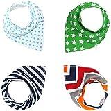 Thinp Baby Bandana Drool Bibs For Boys & Girls, Baby Pure & Absorbent & Organic Cotton Burp Cloths, Pack Of 4,...