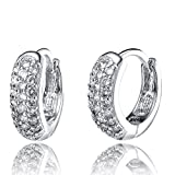 LIOR - Silver 925 Huggies Earrings (Hoop earrings) With White Cubic Zirconia Stones