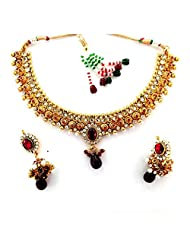 Seasons4 Red Metal Choker Necklace-Earring Set For Women-NA10A305