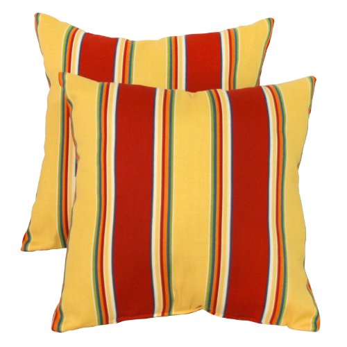 Greendale Home Fashions Indoor/Outdoor Accent Pillows, Carnival Stripe, Set of 2