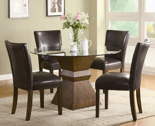 Cheap 5pc Dining Table and Chairs Set with Glass Top in Deep Brown Finish (VF_DINSET-102800-103053)