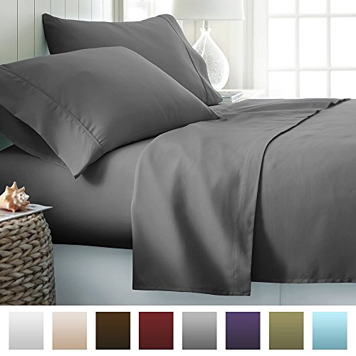 Beckham Hotel Collection Luxury Soft Brushed Microfiber 4 Piece Bed Sheet Set Deep Pocket - King - Gray (King Bed Hotel Sheets compare prices)