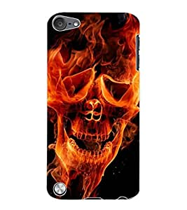 ColourCraft Flaming Skull Design Back Case Cover for APPLE IPOD TOUCH 5