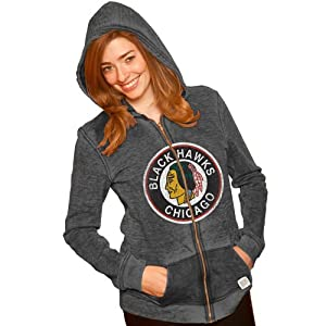 Chicago Blackhawks Black Long-Sleeve Burnout Hoodie by Original Retro Brand by Original Retro Brand