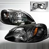 Spec-D Tuning 2LH-CV99JM-RS Civic JDM Black OEM Fit Crystal Head Lights Signal Pair (Color: Black)