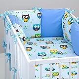 Set de 10 piezas de ropa de cama de beb�: protector de cuna 6 unidades, Edred�n para beb� tama�o grande, con funda de edred�n, funda de almohada, funda de oreiller., dise�o de lechuza, color azul azul azul Talla:lit b�b� de 120 x 60