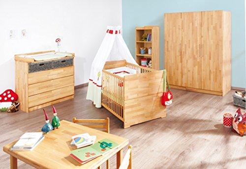 Pinolino-Kinderzimmer-Natura-breit-gro-3-teilig-Kinderbett-140-x-70-cm-breite-Wickelkommode-mit-Wickelansatz-und-groer-Kleiderschrank-Buche-massiv-gelt-Art-Nr-10-21-74-BG