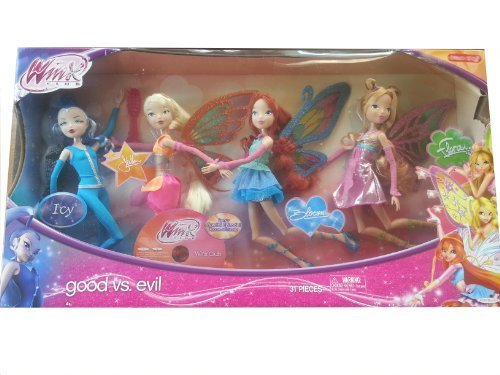 Winx Club Good vs Evil 4 Pack Icy Bloom Stella Flora 11.5 Enchantix Dolls by Jakks Pacific (Winx Good Vs Evil compare prices)
