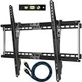 "Cheetah Mounts APTMM2B Tilt TV Wall Mount Bracket for 32-65"" TVs (Many from 20-75"") including LED, LCD and Plasma Flat Screens up to VESA 600 x 400 and 165lbs with Flush 1.5"" (3.8 cm) Profile. Includes a Twisted Veins 10' Braided HDMI Cable and 6"" 3-Axis Magnetic Bubble Level"