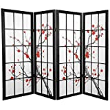 Oriental Furniture Unique Fireplace Screen, 48-Inch Low Cherry Blossom Shoji Screen Room Divider, Black 4 Panel at Sears.com