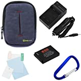 EZOPower SLB-10A Battery + Charger + Soft Pouch Case with Belt Clip + Screen Protector for Samsung WB250F, WB800F, WB850 / WB850F, WB150F, WB750 Digital Camera
